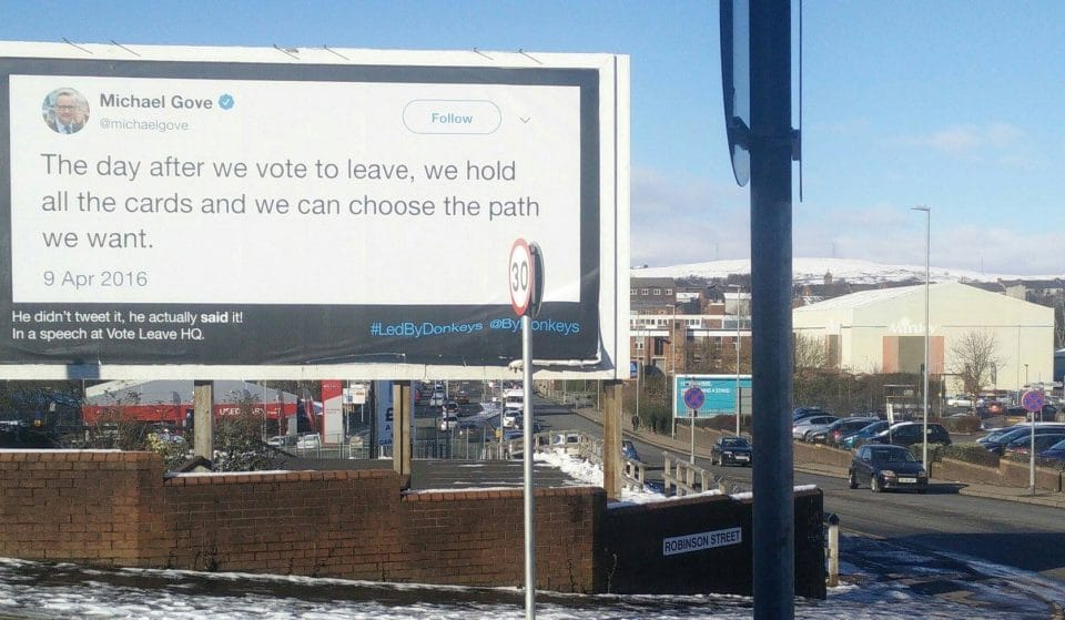 Posters Mocking Brexit Leaders With Their Own Words Have Appeared In Manchester